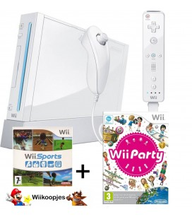 Wii family pakket met wii sports en wii party wit